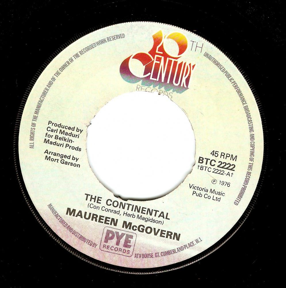 MAUREEN McGOVERN The Continental Vinyl Record 7 Inch 20th Century 1976